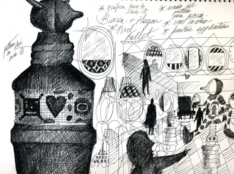 Bisazza: Hayon Pixel Ballet sketches